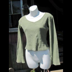 Long Flare Sleeve Olive Green Shirt Top Juniors?